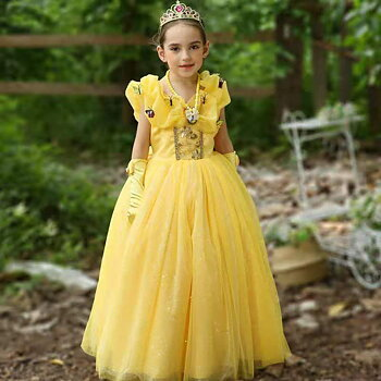 Yellow fairytail dress in tulle and butterflies