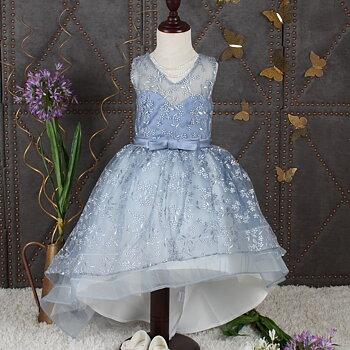 Blå broderad klänning Highandlow