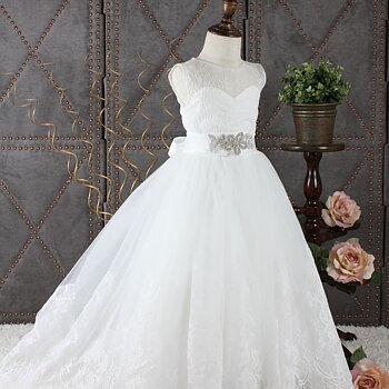 Ivory prinsessklänning i tyll med spets lång