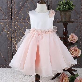 Rosa prinsessklänning i organza med blommor