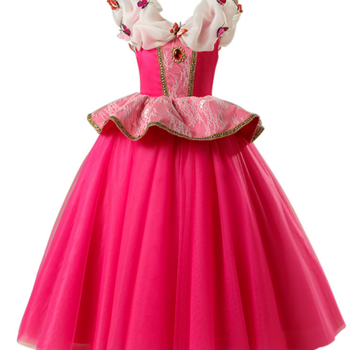 Pink fairytail dress in tulle and butterflies