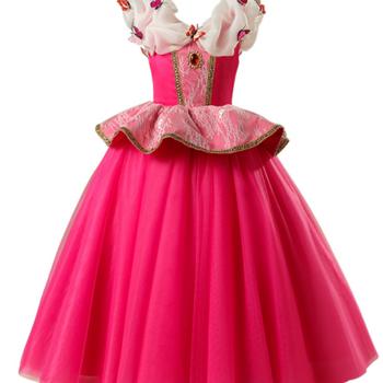 Rosa sagoklänning i tyll och fjärilar