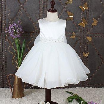 Ivory prinsessklänning i organza med blommor