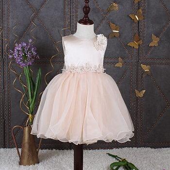 Champagne prinsessklänning i organza med blommor