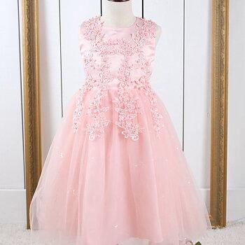 Rosa prinsessklänning i tyll med pärlor och broderi lång