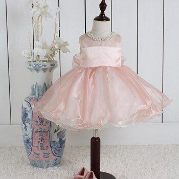 Puderrosa Prinsessklänning i organza med pärlbeklädd krage