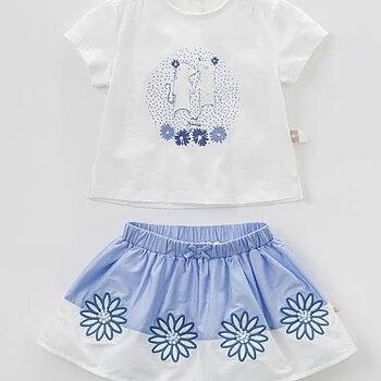 Kjol och toppset blåvitt
