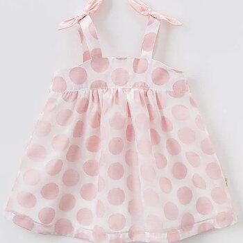 Rosaprickig klänning med rosetter