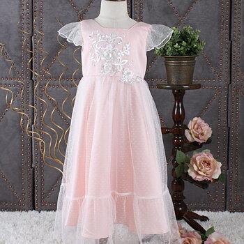 Rosa prinsessklänning i tyll med liten ärm och applikation