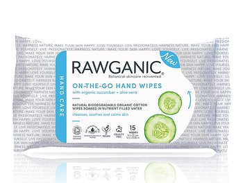 Rawganic on-the-go hand wipes, våtservetter, 15 st