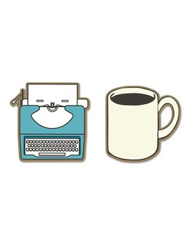Typewriter and coffee : Enamel Pin