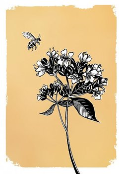 Drawn in gold : Bee with flowers