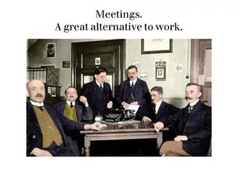 Photocaptions : Meetings alternative to work - Vykort