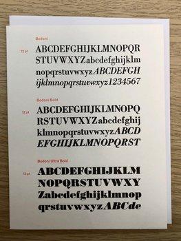 Vintage Typography : Bodoni - Kort med kuvert