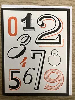 Vintage Typography : Fanciful Numerals - Kort med kuvert