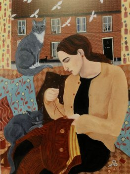 Dee Nickerson : Seewing on buttons with two grey cats - Kort med kuvert