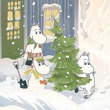 Moomin : Carrying Christmas Tree - Kort med kuvert