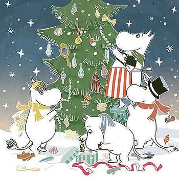 Moomin : Decorating Christmas Tree - Kort med kuvert