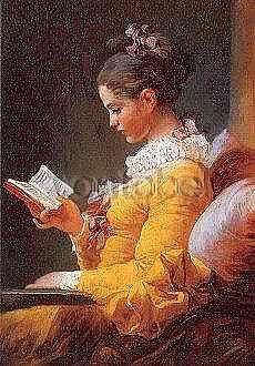 Fragonard  Young Girl Reading : Kort med kuvert