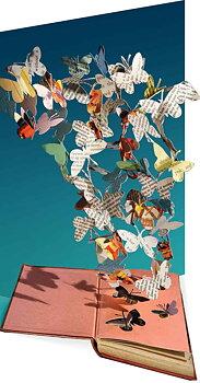 Su Blackwell : Butterflies Paper Sculpture - Kort med kuvert