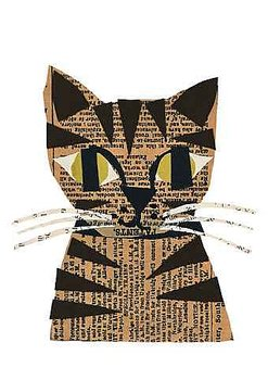 Denise Fiedler : Works in paper Tabby Cat - Kort med kuvert