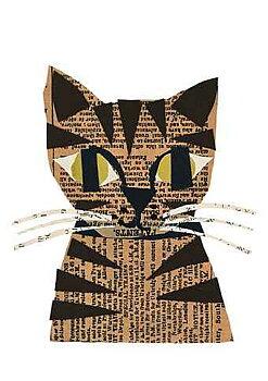 Denise Fiedler : Works in paper Tabby Cat - Kort med kuvert