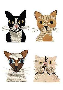 Denise Fiedler : Works in paper Cat Gang - Kort med kuvert