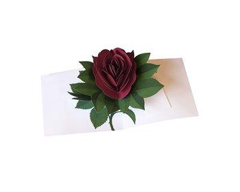 Simply a rose : Popup-kort ros mörkröd