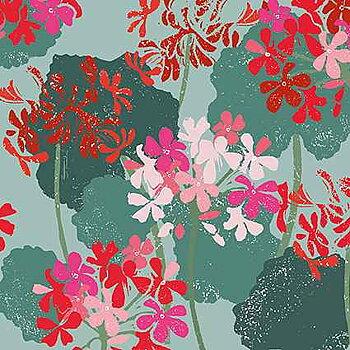 Liza Saunders : Geraniums - Kort med kuvert