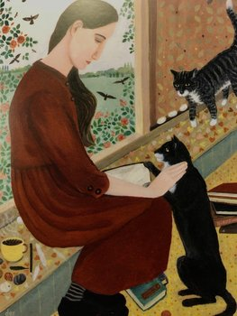 Dee Nickerson : In her own space with two cats - Kort med kuvert