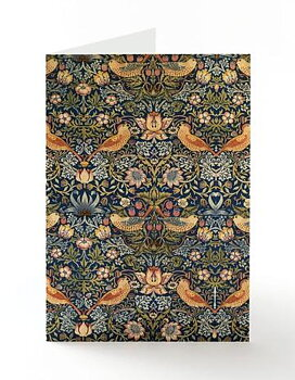 William Morris : Strawberry Thief blå Kort med kuvert