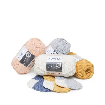 Paket 1/2 kg Novita Wool Cotton 6 färger