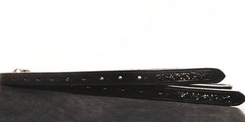 Stigläder med Swarovski Svart