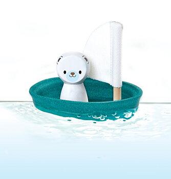 Ekologisk badleksak - isbjörn i segelbåt/PlanToys