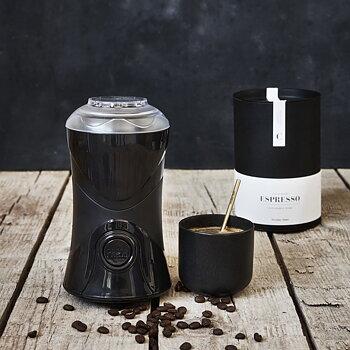 Coffee grinder, Matte black dia: 10.5 cm, h: 19 cm, Capacity 50 g.