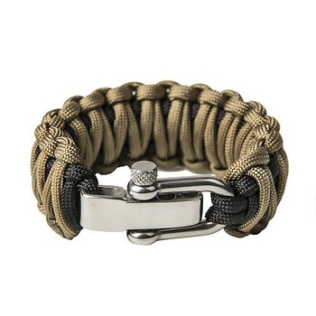 Paracord Bracelet Double cobra - Black and Coyote brown