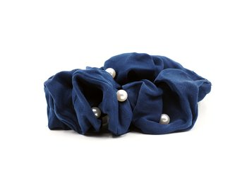 Charisma Hair Accessories Pearl Scrunchies Blue