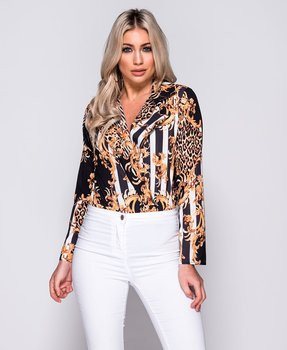 Leopard Print Striped Long Sleeve Bodysuit