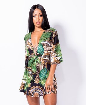 Abstract Tropical Print Tie Waist Mini Dress