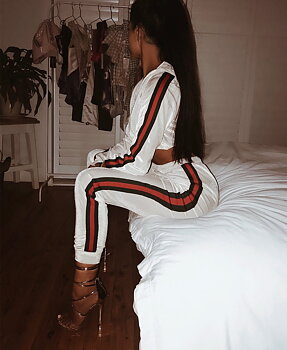 Luxury Velvet Tracksuit Set White