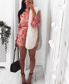 Pink Floral Print High Neck Playsuit