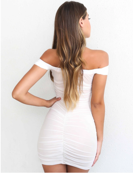 Bandage Off Shoulder Dress White