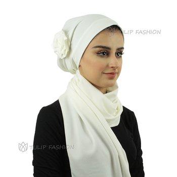Turban med sjal - Flower - Offwhite