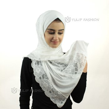 Hijab - Jersey with Lace - Offwhite