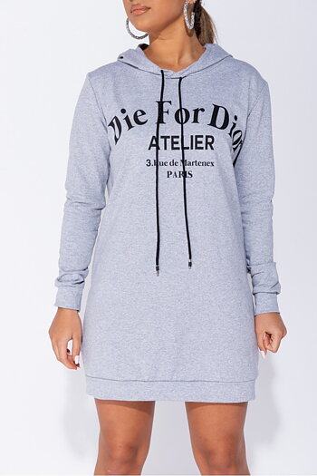 DIE FOR DIOR COTTON HOODIE GREY
