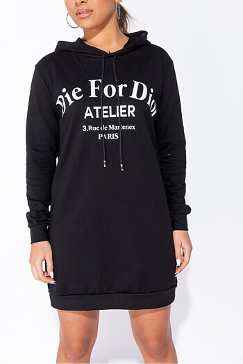 DIE FOR DIOR COTTON HOODIE BLACK