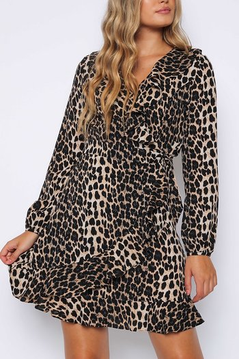 LEOPARD SKATER WRAP DRESS