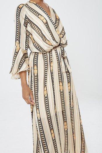 VANESSA DRESS BEIGE CHAINS