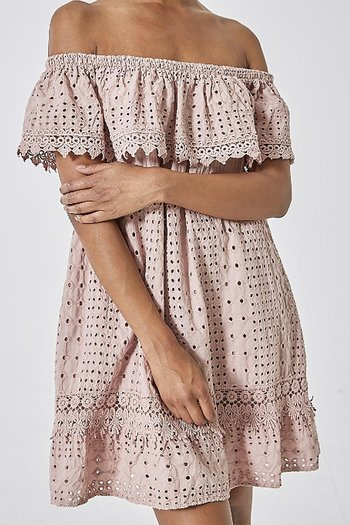 MAJA COTTON LACE DRESS DUSTY PINK