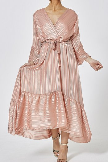 VANESSA DRESS DUSTY PINK METALLIC